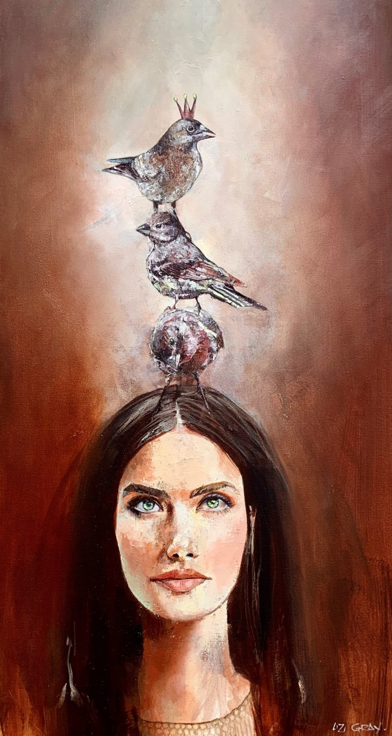 Liz Gray's A little Birdy told Me oil painting original art for sale product