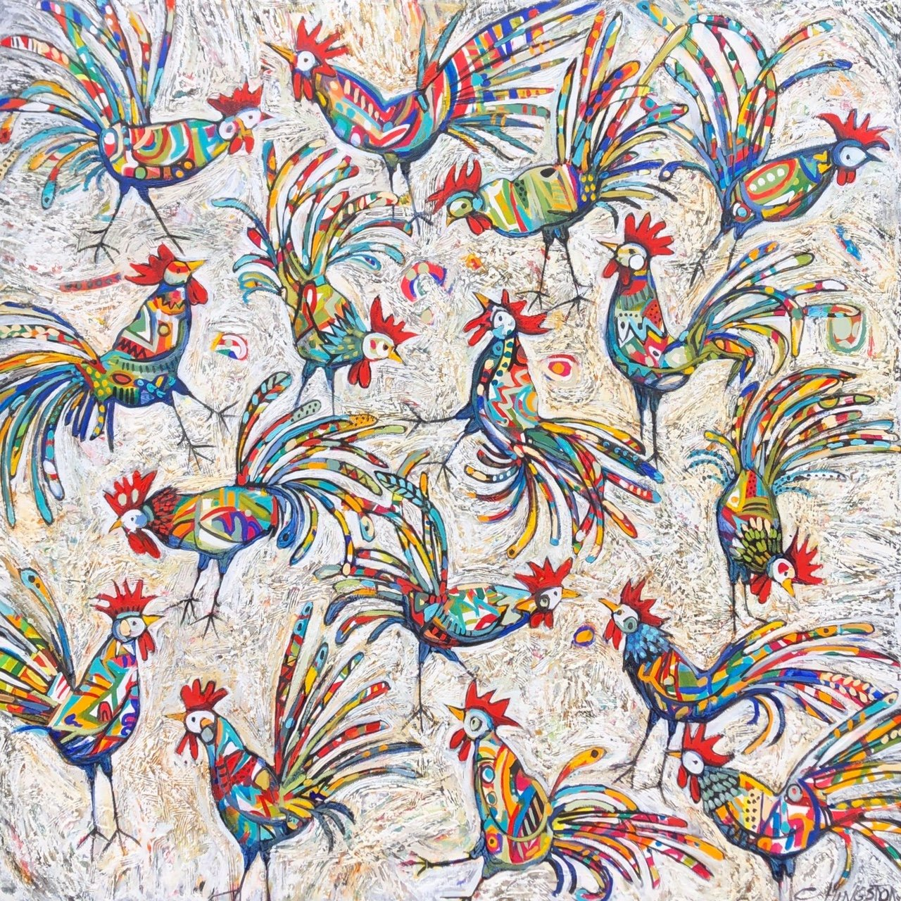 """Christine Hingston's """"Roosters"""" original painting product. Exclusive Oil & Acrylic on Canvas for Sale!"""