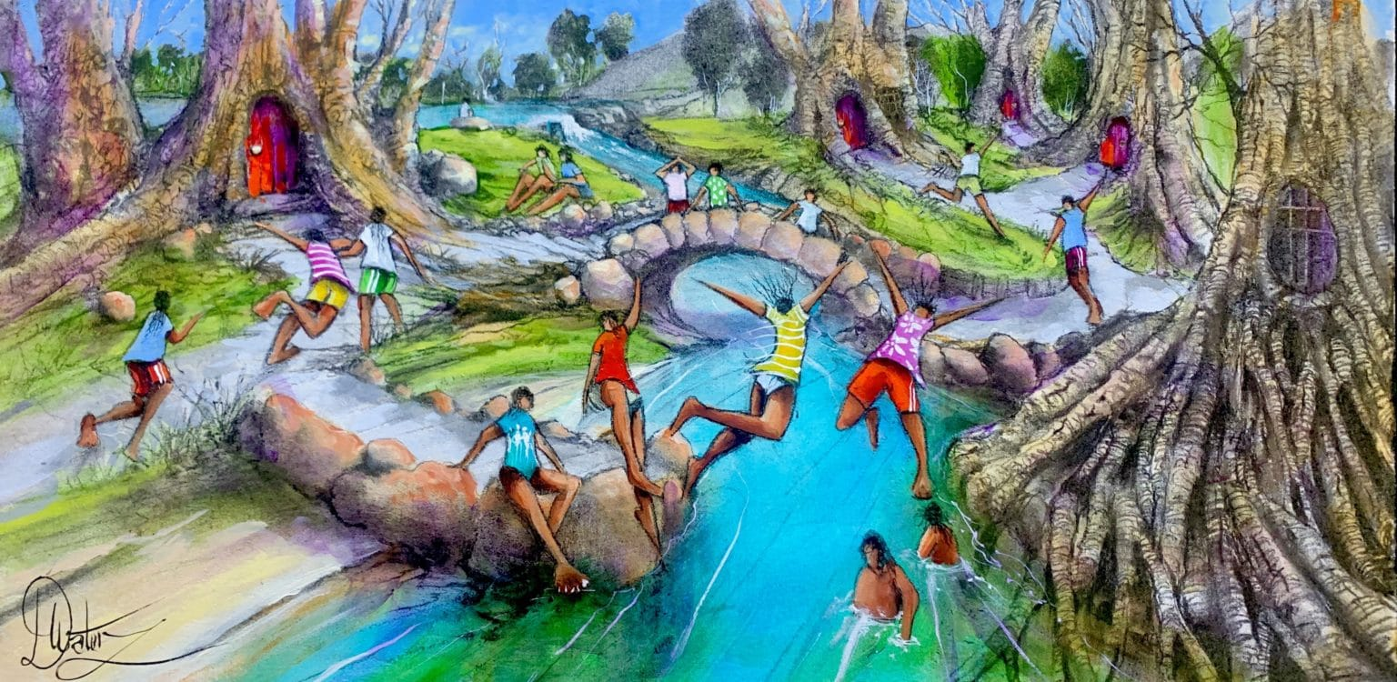 "Donald Waters' ""Community Spirit"" original painting product"