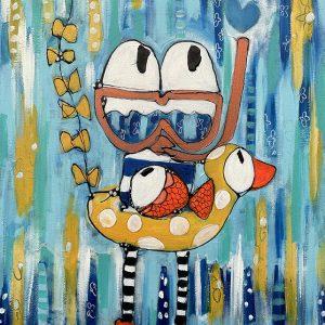 "Esther Ziher-Ginczinger's ""Aquafriends"" original painting product"