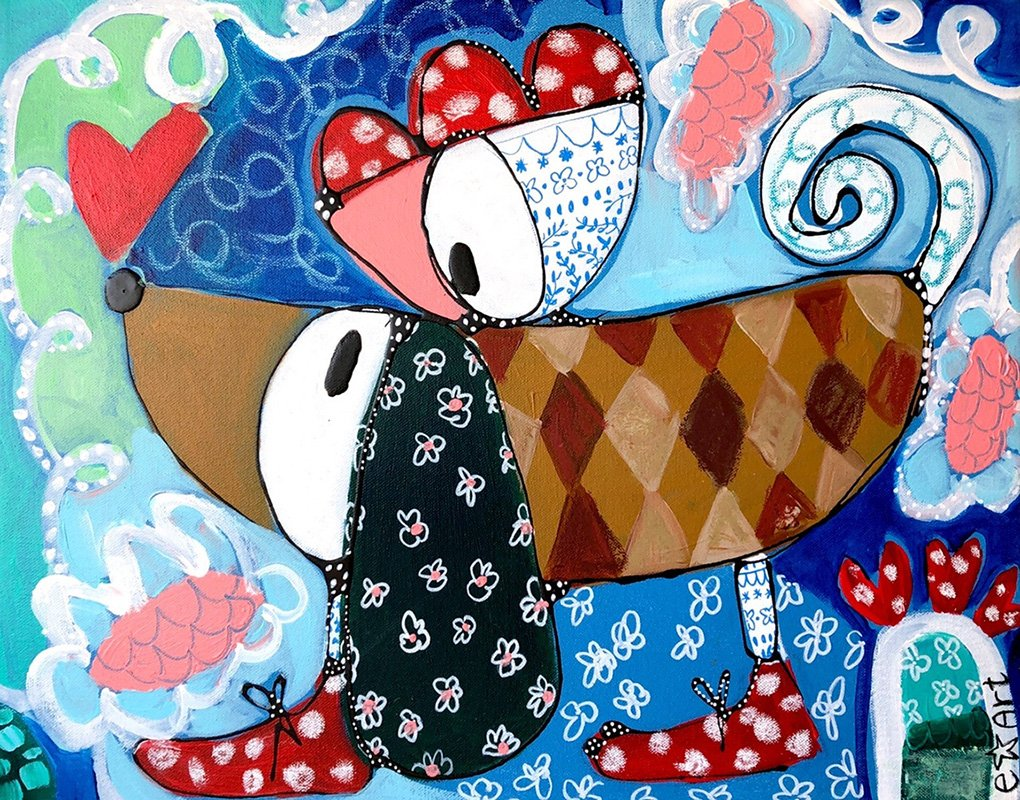 "Esther Ziher-Ginczinger's ""My Porcelain Birdie Friend"" original painting product"