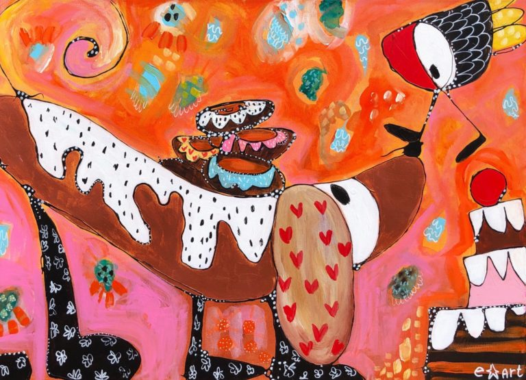 """Esther Ziher-Ginczinger's """"Snooppp Doggy Doggy"""" original painting product"""
