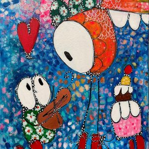"""Esther Ziher-Ginczinger's """"Will you teach me how to play the violin?"""" original painting product"""