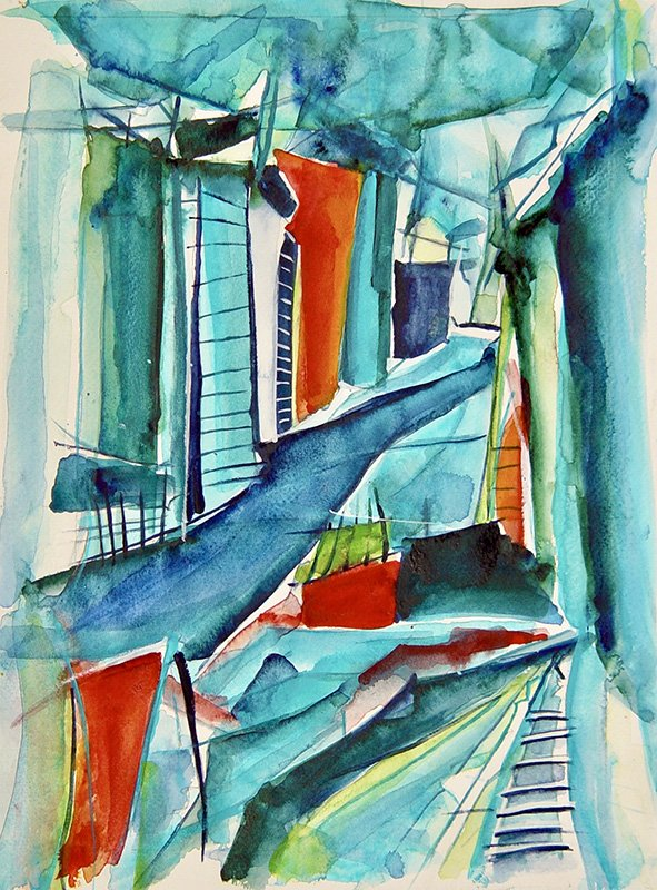 Christin Lutze's Ivelandic Wintertime Aquarell Gouache Acryl on paper