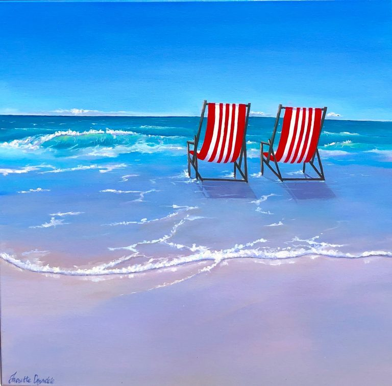 "Janette Drysdales' ""Take A Seat"" oil painting product"