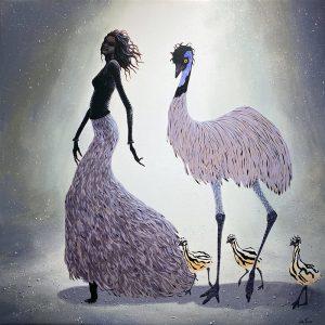 Judy Prosser Emu Family Print