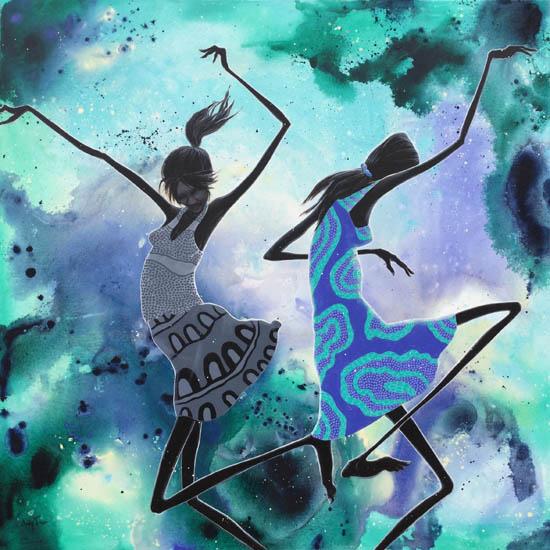 "Judy Prosser's ""Wet Season Dancers Desert Dancers"" print product"