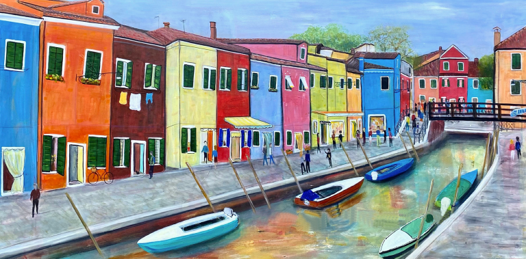"""Kathryn Stanley-Hart's """"Burano"""" mixed media painting product"""