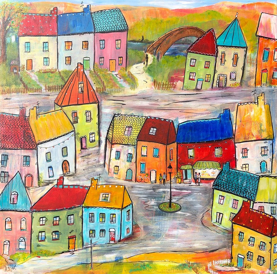 """Kathryn Stanley-Hart's """"To the River"""" Acrylic & Ink on Canvas original"""