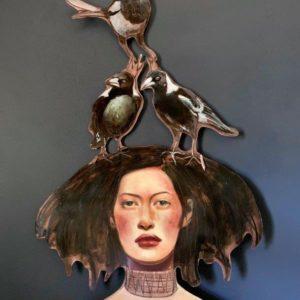 Copper Art For Sale - Liz Gray's Magpie Maiden oil painting original art for sale product