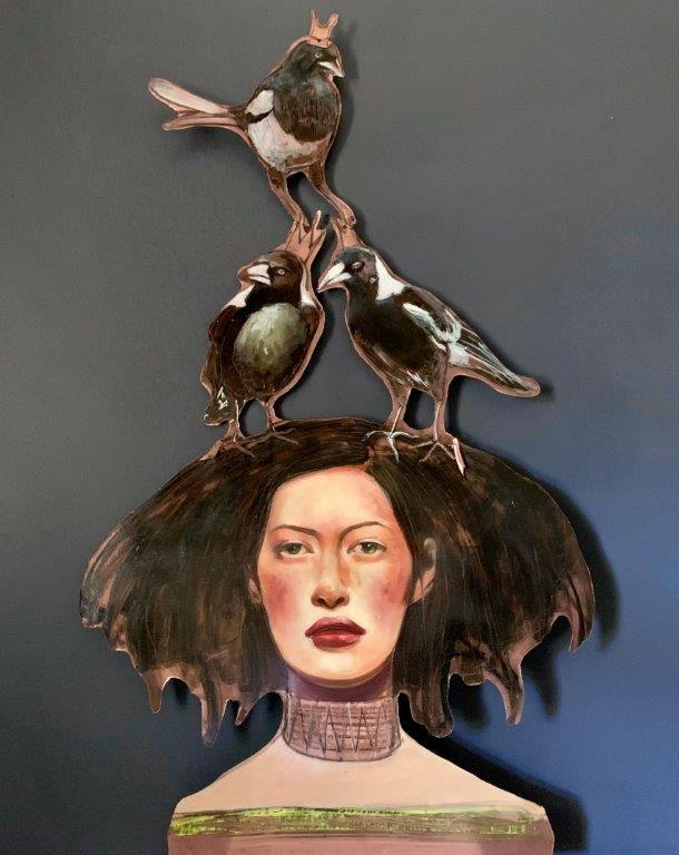 Copper Art For Sale - Liz Gray's Magpie Maiden oil painting original art for sale product