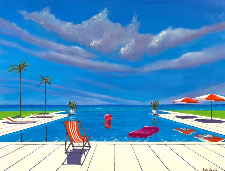 """Janette Drysdales' """"Meet You at the Pool"""" oil painting product"""