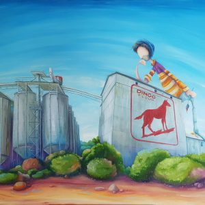 """Peter Ryan's """"Designing the Dingo Flour Mill"""" oil painting product"""