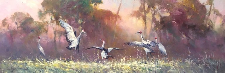 Robert Hagan's Flamingos oil painting product