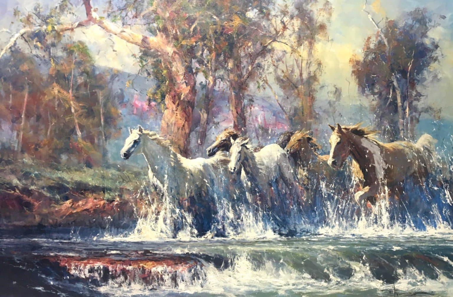 Robert Hagan's Horses Crossing oil painting product