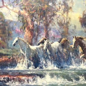 Robert Hagan's Horses Crossing oil painting product