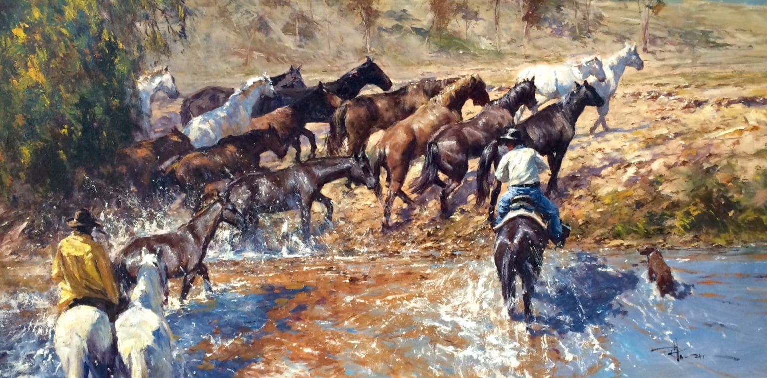 Robert Hagan's Muddy Crossing oil painting product