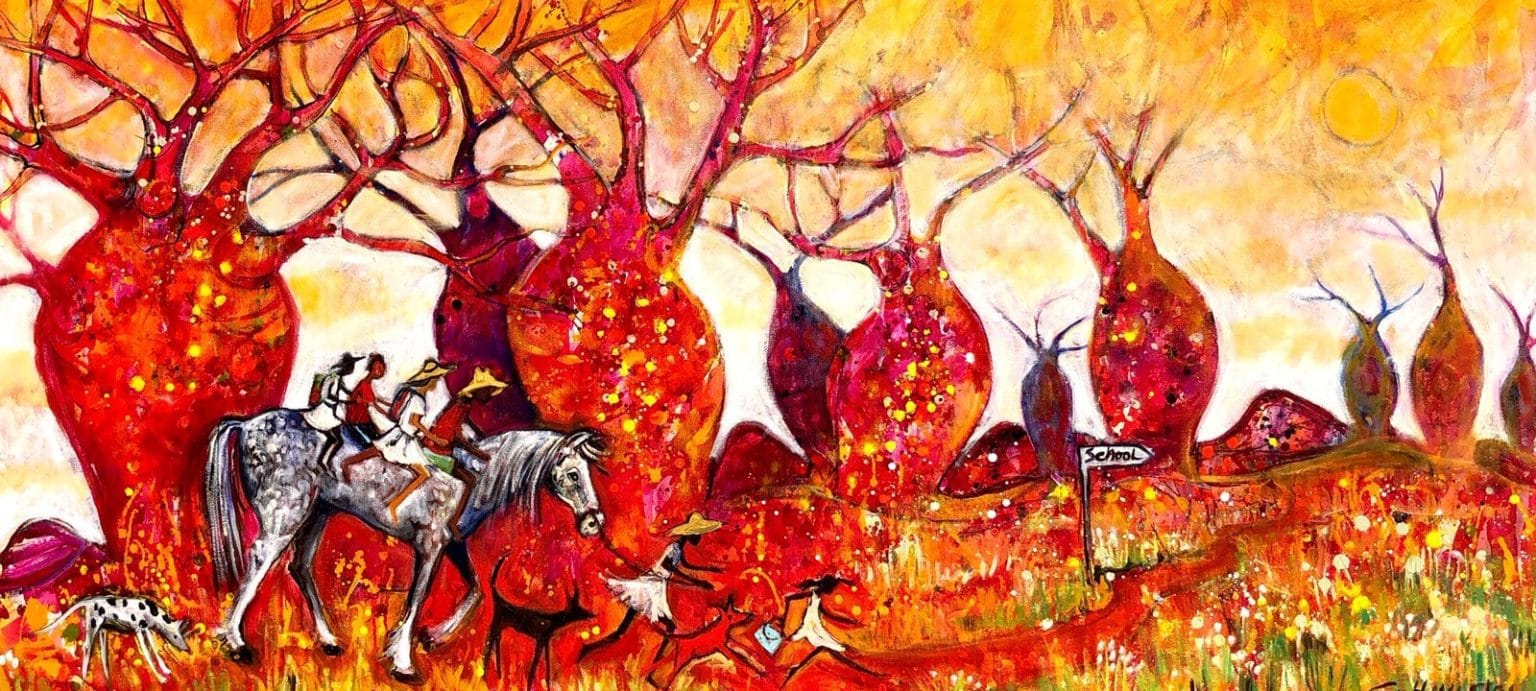 """Christine Hingston's """"School's In"""" original painting product. Exclusive Oil Paintings For Sale!"""