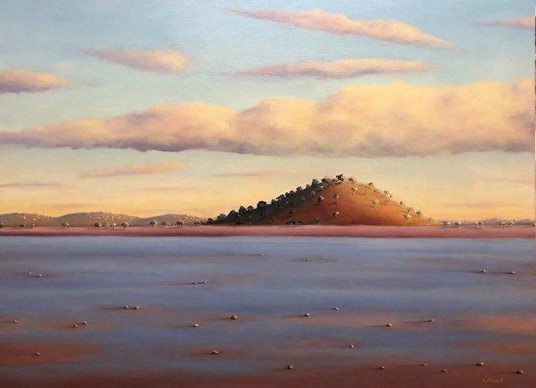 Shane Moad's Morning at Lake Ballard oil painting